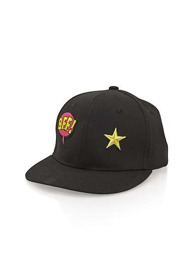 Snapback Hat with BFF Patch,BLACK,large