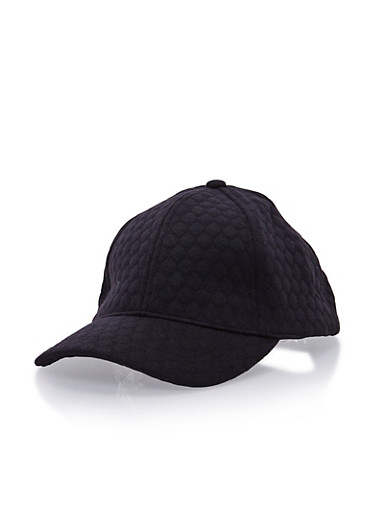 Quilted Baseball Hat,BLACK,large
