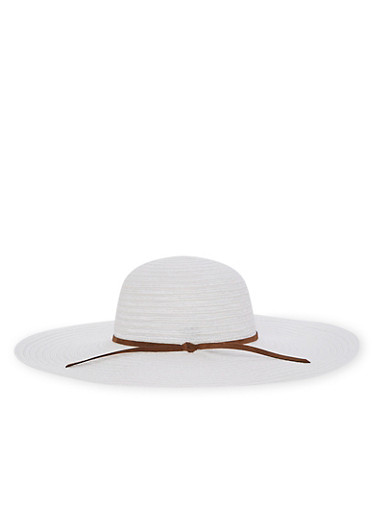 Floppy Shadow Striped Straw Hat,WHITE,large
