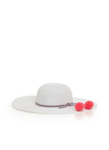 Floppy Straw Hat with Pom Pom Accent,WHITE,large