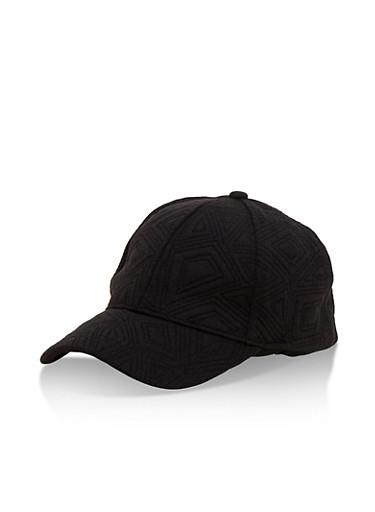 Stitched Pattern Baseball Cap,BLACK,large