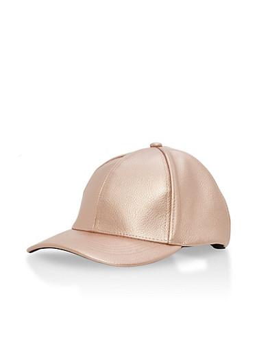 Metallic Faux Leather Snapback Trucker Hat,ROSE,large