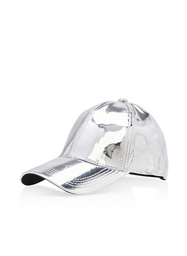 Mirrored Baseball Hat,SILVER,large