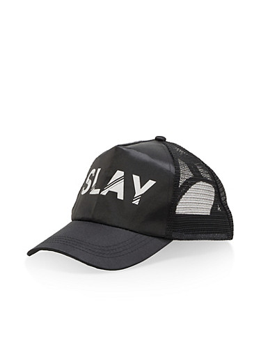 Slay Graphic Trucker Hat,BLACK,large