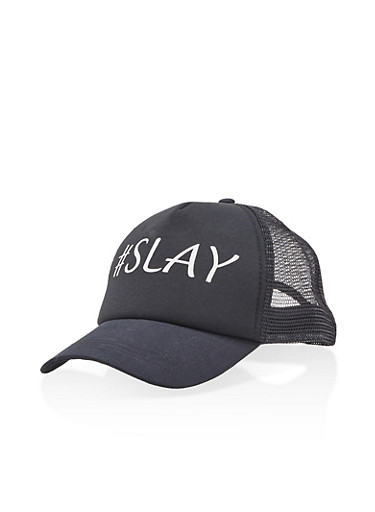 Hashtag Slay Trucker Hat,BLACK,large
