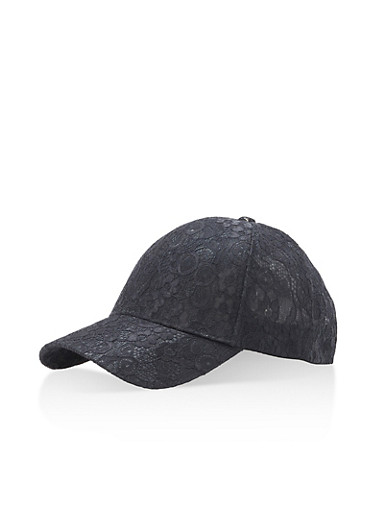 All Over Lace Baseball Cap,BLACK,large