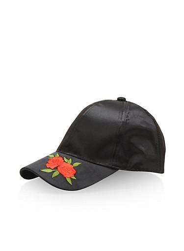 Satin Baseball Hat with Rose Applique,BLACK,large