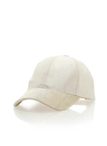 Satin Baseball Cap with Crushed Velvet Brim,IVORY,large
