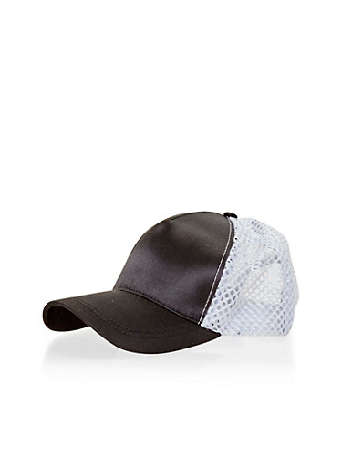 Satin Mesh Trucker Cap,BLACK/WHITE,large