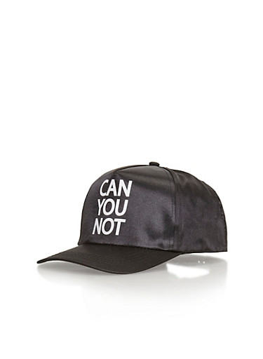 Can You Not Graphic Satin Baseball Cap,BLACK/WHITE,large