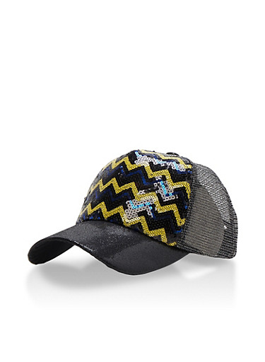 Metallic Chevron Sequin Trucker Hat with Glitter Brim,BLACK,large