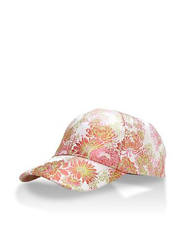 Floral Satin Baseball Cap,BLUSH,large