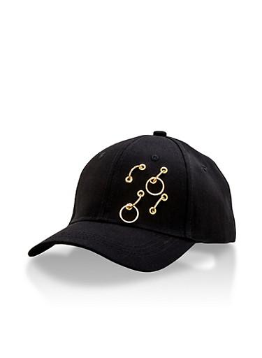 Pierced Snapback Baseball Hat,BLACK,large