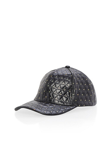 Heart Quilted Snapback Cap,BLACK,large