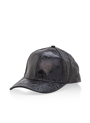 Crinkled Foil Baseball Cap,BLACK,large