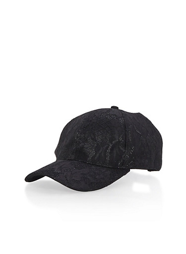 Lace Lurex Snapback Cap,BLACK,large