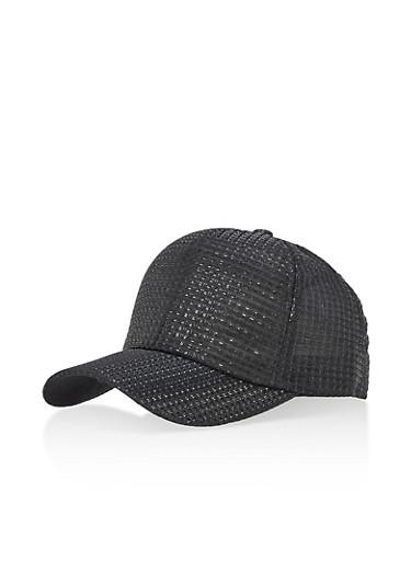 Shimmer Stitch Baseball Cap,BLACK,large