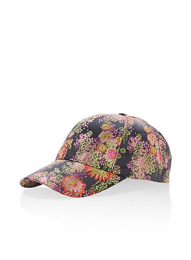 Satin Brocade Baseball Hat,BLACK,large
