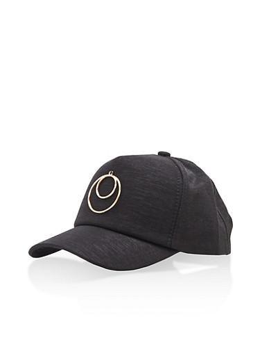 Metallic Hoop Baseball Hat,BLACK/GOLD,large