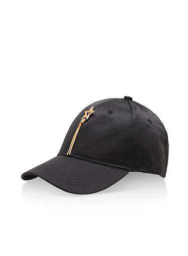 Satin Lucky Star Charm Baseball Hat,BLACK,large