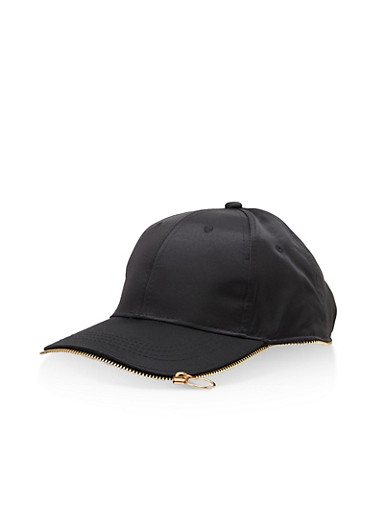 Satin Zipper Trim Baseball Hat,BLACK,large