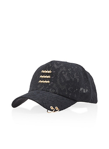 Lace Baseball Hat with Metallic Rings,BLACK,large