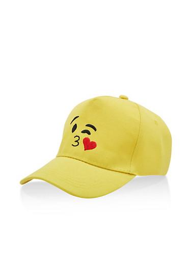 Kiss Emoji Baseball Hat,YELLOW,large