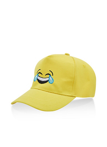 Laughing Emoji Baseball Hat,YELLOW,large