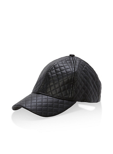 Metallic Quilted Baseball Hat,BLACK,large