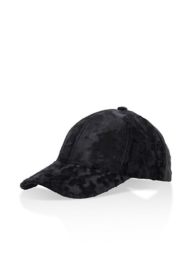 Crushed Velvet Baseball Hat,BLACK,large