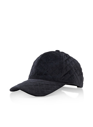 Quilted Velvet Baseball Hat,BLACK,large