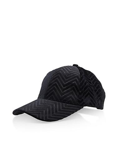 Velvet Chevron Baseball Hat,BLACK,large