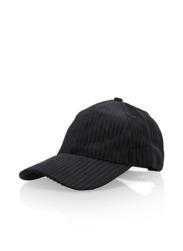 Velvet Striped Baseball Hat,BLACK,large