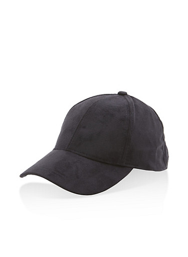 Faux Suede Baseball Hat,BLACK,large