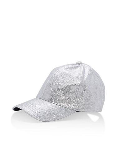 Glitter Baseball Hat,SILVER,large