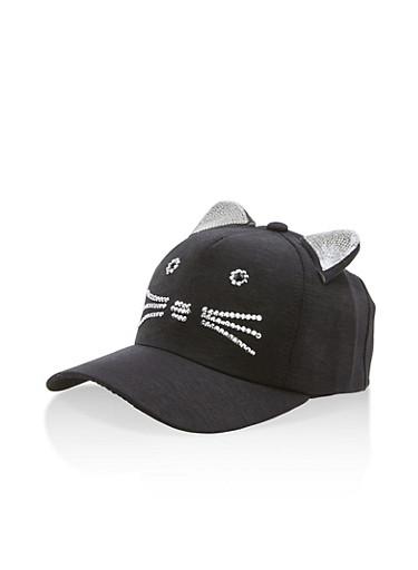 Rhinestone Cat Ear Baseball Hat,BLACK,large