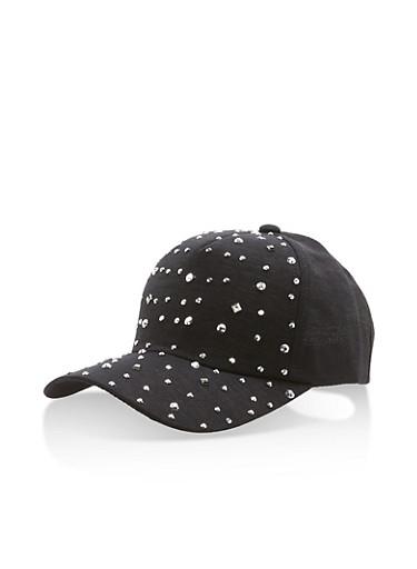 Shimmer Knit Studded Baseball Hat,BLACK,large