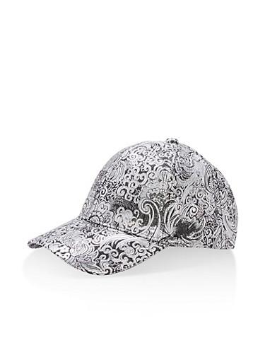 Jacquard Lurex Baseball Hat,SILVER,large