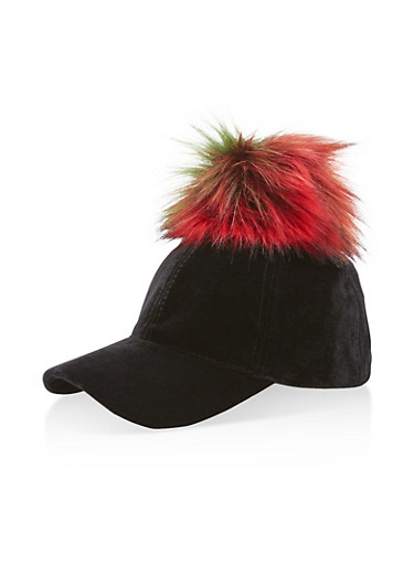 Velvet Pom Pom Baseball Hat at Rainbow Shops in Daytona Beach, FL | Tuggl