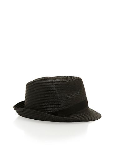 Banded Straw Fedora Hat,BLACK,large
