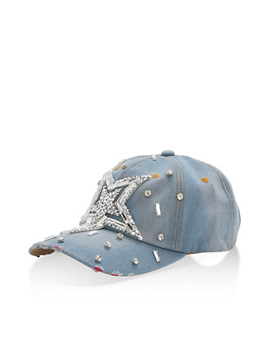 Star Bedazzled Denim Hat,LIGHT DENIM,large
