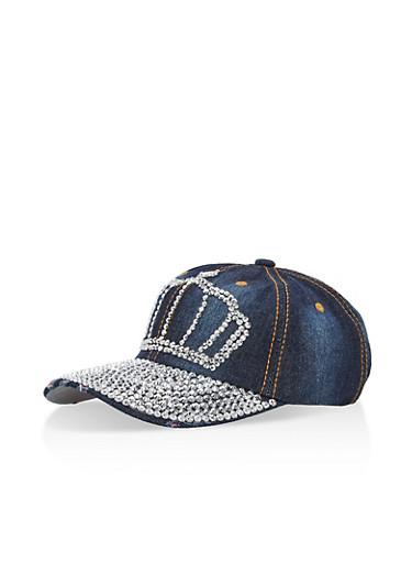Rhinestone Crown Denim Hat,DENIM,large