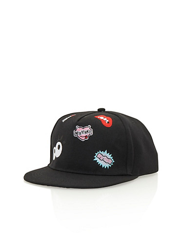 Snapback Hat with Assorted Patches,BLACK,large