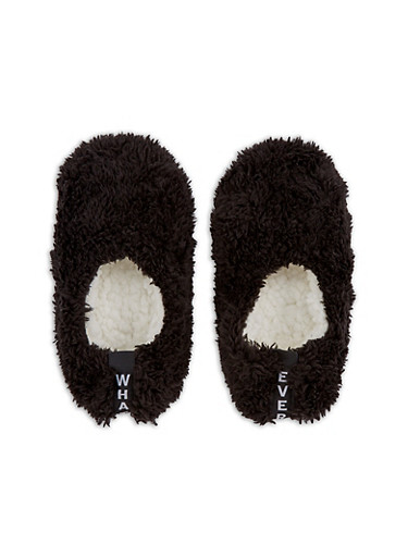 Furry Slipper Socks,BLACK,large