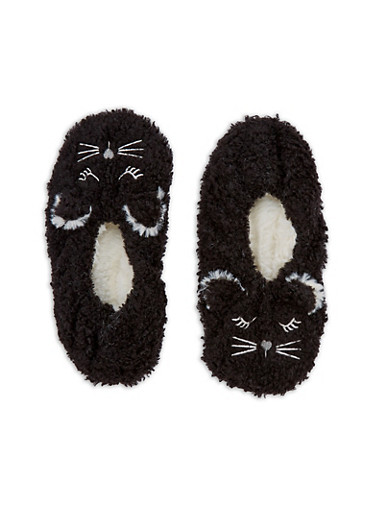 Furry Animal Slipper Socks,BLACK,large
