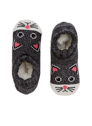 Knit Animal Ankle Slipper Socks,BLACK,large
