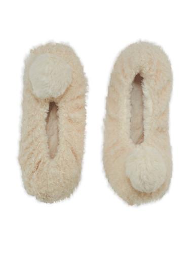 Furry Pom Pom Slipper Socks,IVORY,large