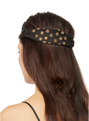 Faux Suede Elastic Headband with Studded Flowers,BLACK,large