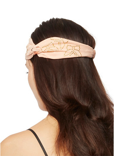 Faux Suede Elastic Headband with Studded Butterflies,NUDE,large
