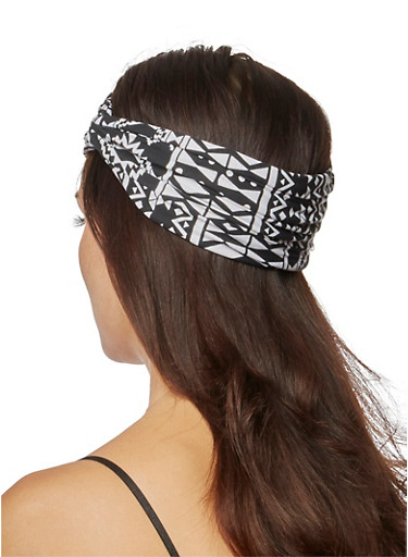 Wide Dashiki Print Headband with Knotted Accent,BLACK,large